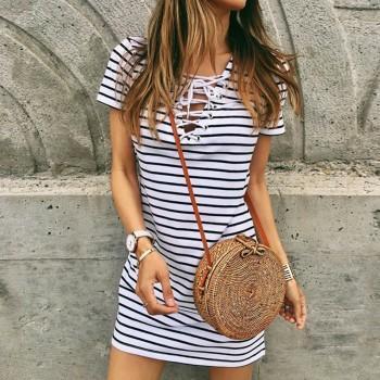 Sassy Stripe V Neck Short-sleeve Dress