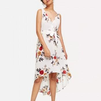 Charming Floral V Neck Sleeveless Dress