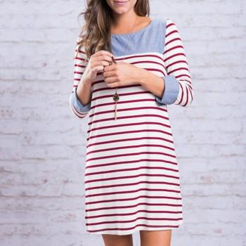 Trendy Stripe Crop Sleeves Dress
