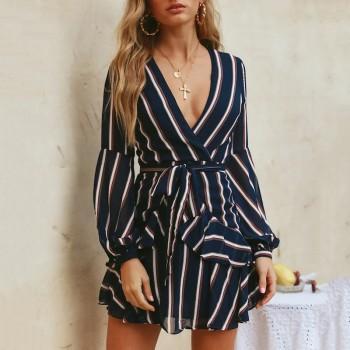 Sassy V Neck Stripe Long-sleeve Dress