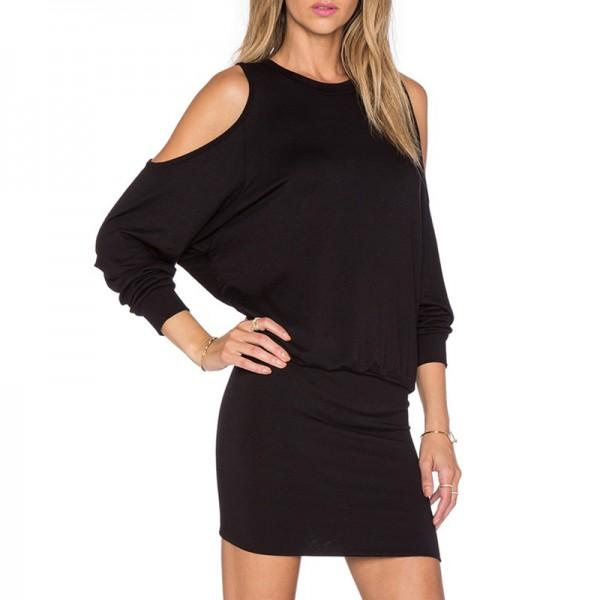 Sassy Solid Cold Shoulder Long-sleeve Dress