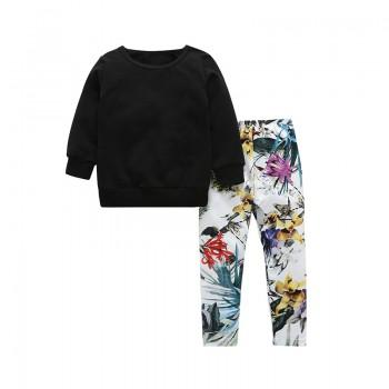 2-piece Black Long Sleeves Top and Floral Pants for Girls