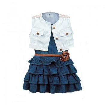 3-piece Pretty Sleeveless Denim Top Ruffle Dress and Flower Belt Set for Toddler Girl