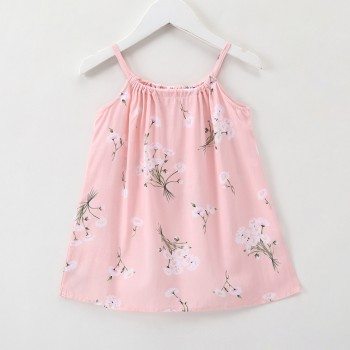 Lovely Dandelion Print Strap Dress in Pink for Baby and Toddler Girl
