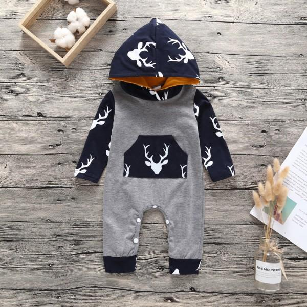 Comfy Color-blocking Elk Print Hooded Long-sleeve Jumpsuit in Grey for Baby