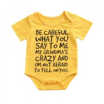 Stylish Letter Print Short-sleeve Bodysuit for Baby and Toddler