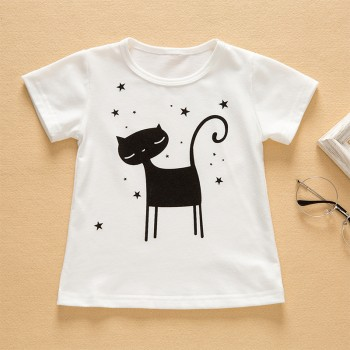 Casual Cat Print Short-sleeve T-shirt in White for Toddler Girl and Girl