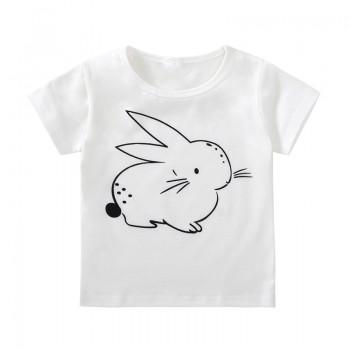 Trendy Rabbit Print Short-sleeve Tee for Toddler Girls and Girls