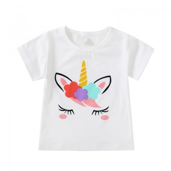Lovely Unicorn Print Short-sleeve T-shirt in White for Toddler Girls and Girls