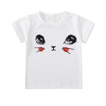 Cute Cat Face Print Short-sleeve Tee for Toddler Girls and Girls