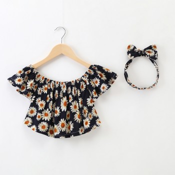 2-piece Pretty Floral Ruffled Short-sleeve T-shirt and Headband Set for Baby Girl and Girl