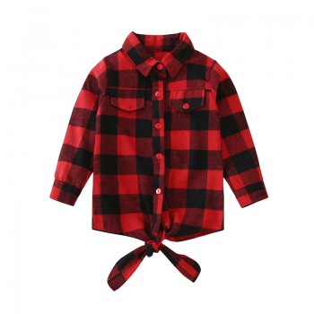 Casual Plaid Lace-up Long Sleeve Shirt in Red for Toddler Girl and Girl