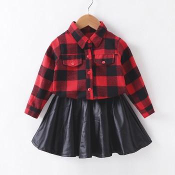 Fashionable Plaid Long-sleeve Shirt and PU Skirt Set for Toddler Girl and Girl