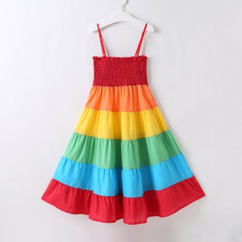 Fashionable Colorful Shirred Strap Dress for Toddler Girl and Girl
