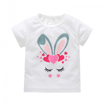 lovely rabbit ear print short sleeve tee for baby and toddler girl
