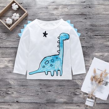 Cute Dinosaur Print Long-sleeve Top in White for Baby Boy