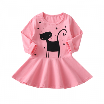Cute Cartoon Cat Print Long-sleeve Dress for Baby and Toddler Girl