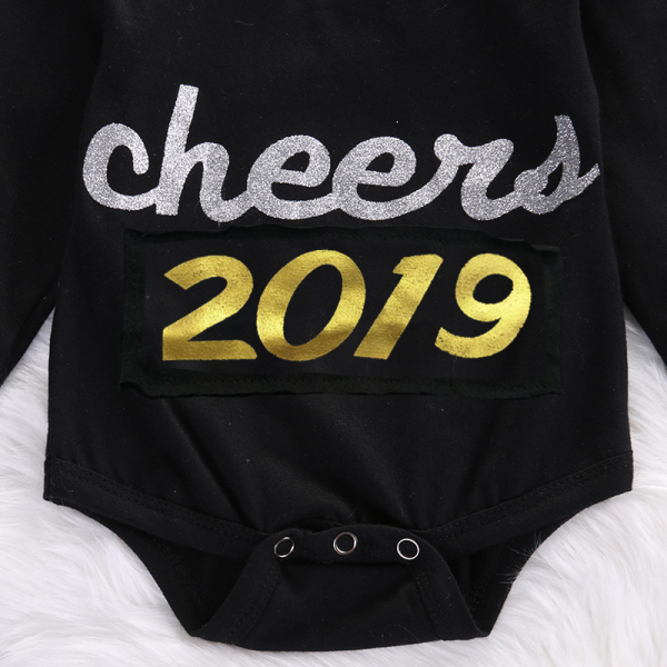 """Fashionable """"Cheers 2019"""" Long-sleeve Bodysuit for Baby"""
