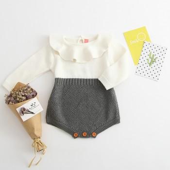 Trendy Contrast Ruffled Collar Long-sleeve Knit Bodysuit for Baby Girl