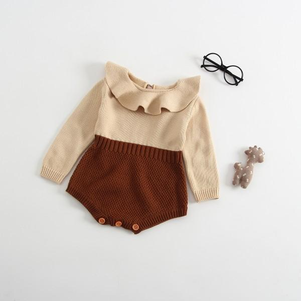 Trendy Contrast Ruffled Collar Long-sleeve Knit Bodysuit for Baby Girl