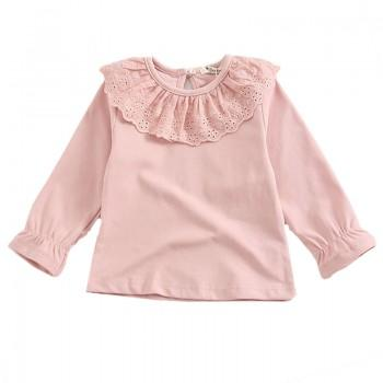 Sweet Solid Doll Collar Long-sleeve Tee for Baby Girl