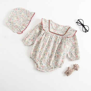 Cute Floral Long-sleeve Bodysuit and Hat Set for Baby Girl