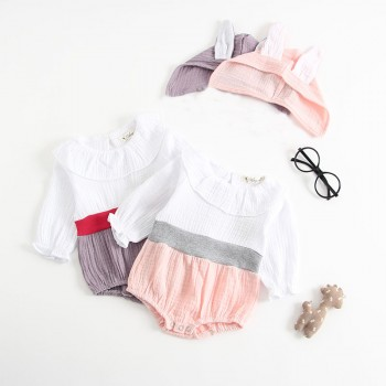 Cute Color-blocking Long-sleeve Bodysuit with Hat for Baby Girl