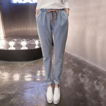 Loose Solid High Waist Elastic Jeans for Women