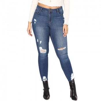 Pretty Solid Frayed Ripped Skinny Jeans for Women