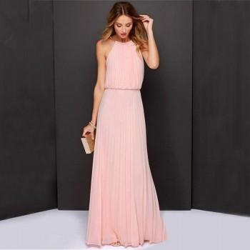 Elegant Solid Pleated Maxi Party Dress