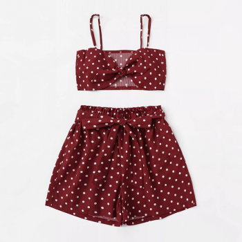 Sexy Dotted Crop Strap Top and Shorts Set