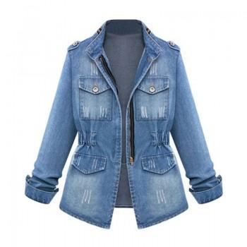 Vintage Cinched Waist Denim Jacket