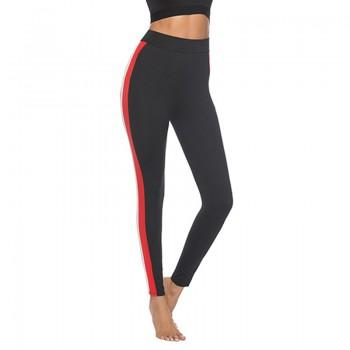 Trendy Red and Black Contrast Yoga Pants
