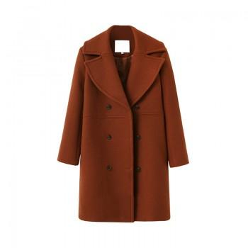 Elegant Solid Long-sleeve Woolen Trench