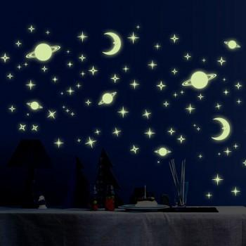 Beautiful Waterproof Star and Moon Glow Wall Sticker