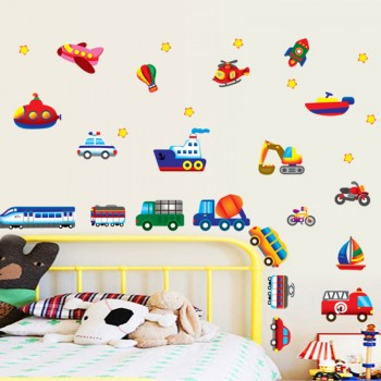 1-pack Transportation Vehicles Children Bedroom Wall Stickers