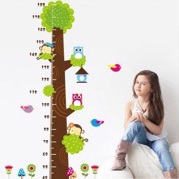 Removable Forest Animal Height Chart Wall Sticker