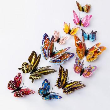 12-piece Beautiful Fluorescence Magnet Butterflies Wall Decorations