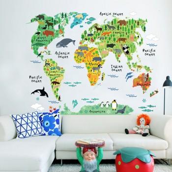 Trendy Waterproof Cartoon Animal World Map Wall Sticker
