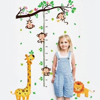 Lovely Giraffe and Monkey Print Height Wall Sticker