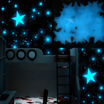 100-piece Fluorescent Star Wall Stickers in Blue