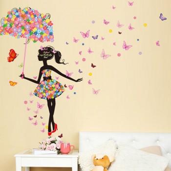 Pretty Waterproof Umbrella Girl Wall Sticker