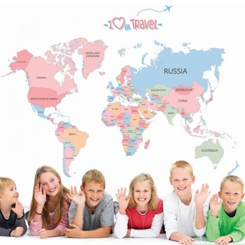 Removable Chic World Map with Letter Colorful Wall Sticker