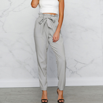 Pretty Solid Ruffled Pants with Belt for Women