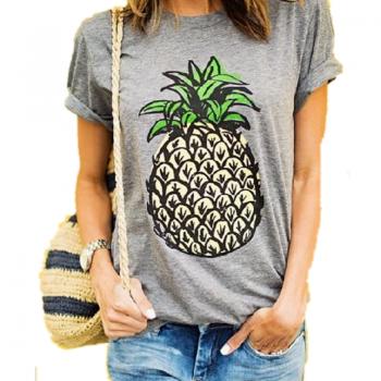 Fresh Pineapple Print Short-sleeve T-shirt for Women