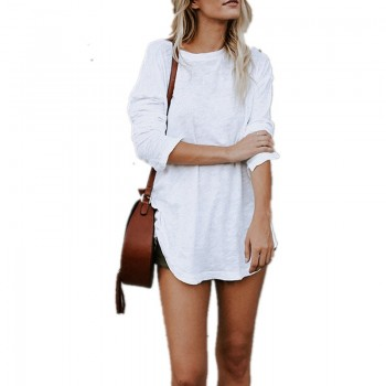 Basic Solid Long-sleeve Tee in White