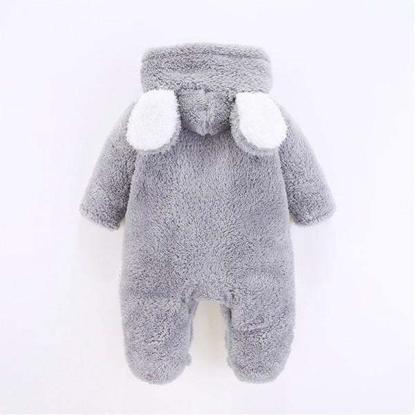 Warm Ear Decor Hooded Footed Long-sleeve Jumpsuit for Baby