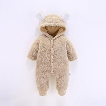 Warm Ear Decor Hooded Footed Long-sleeve Jumpsuit for Baby Boy