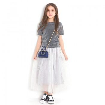2-piece Trendy Solid Tee and Star Pattern Mesh Skirt Set for Girl