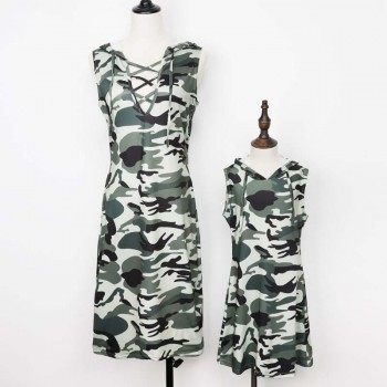 Cool Camouflage Hooded Sleeveless Dress for Mom and Me